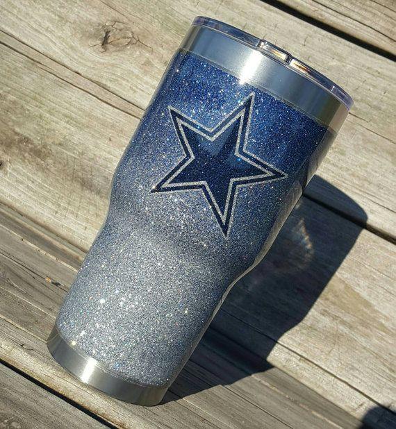Dallas Cowboys Glitter Yeti Cup Tumbler 30 oz by TexasKateCups