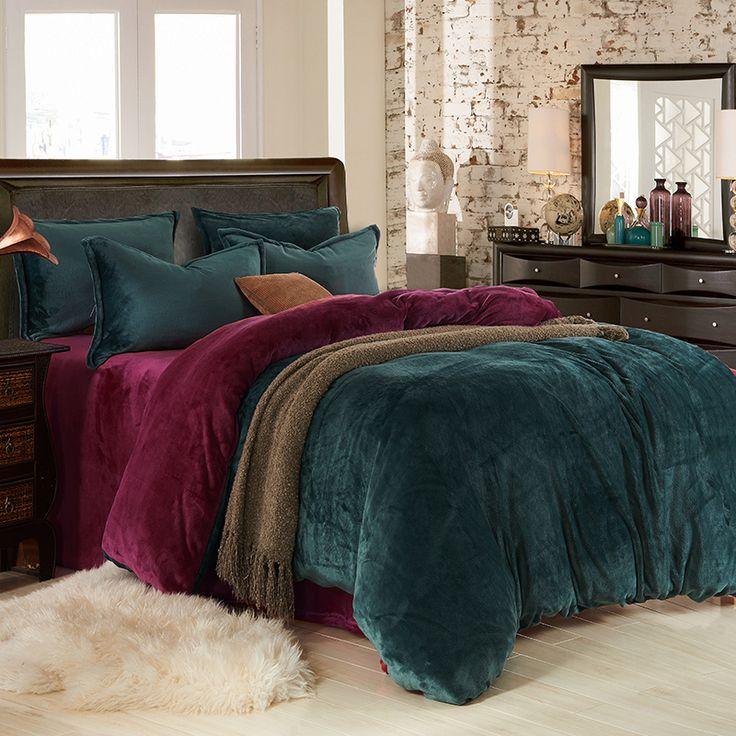 Dark Green And Wine Red Flannel Bedding Winter Bedding