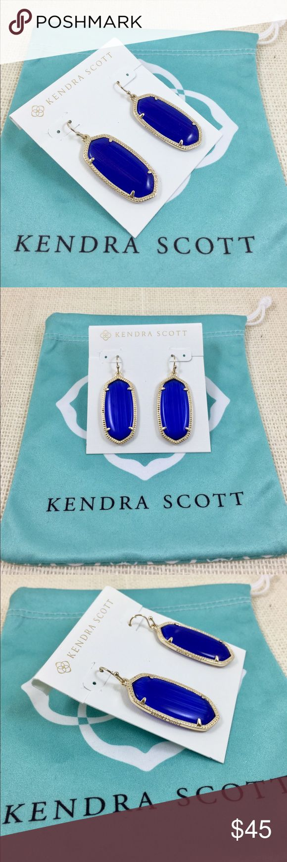 """Kendra Scott Elle gold tone cobalt blue earrings Kendra Scott Elle gold tone cobalt blue earrings. 14K gold plated over brass. Size: 1.44""""L x0.69""""W on earwire. New with Kendra Scott earrings card and pouch. No tags. Kendra Scott Jewelry Earrings"""