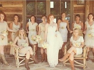 We love the vintage feel of this wedding. And, all the different boots are awesome!: Cowgirl Boots, Ideas, Cowboy Boots, Bridesmaid Dresses, Weddings, Country Wedding, Bridal Parties, Cowboys Boots, The Dresses
