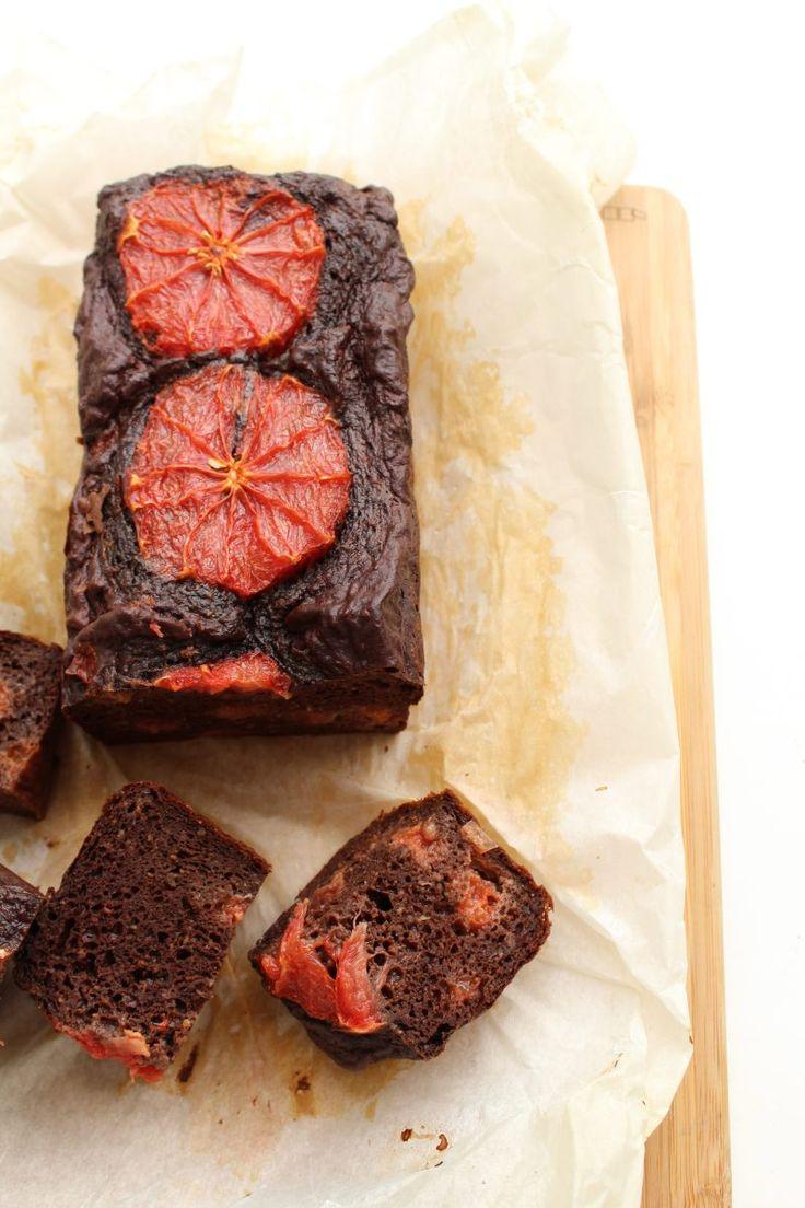 Zwarte bonen brownie met bloedsinaasappel