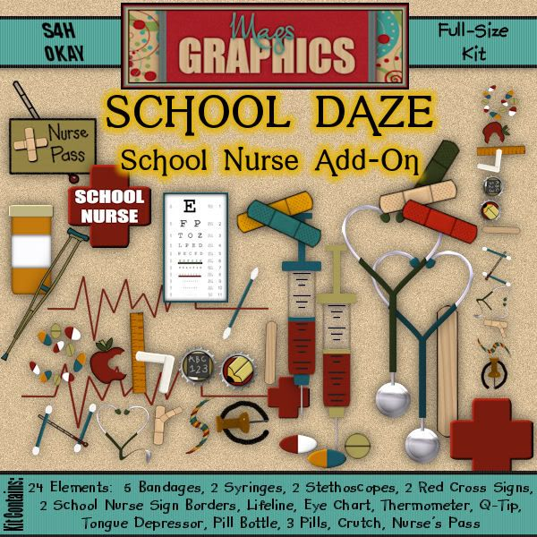 decorations for school nurse office | MagsGraphics Digital Scrappin' Blog: School Daze : SCHOOL NURSE Add-On