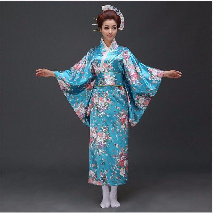 Hot Sale Women's Satin Kimono Japanese Sexy Yukata With Obi Haori Novelty Party Dress Performance Dance Costume Floral One Size