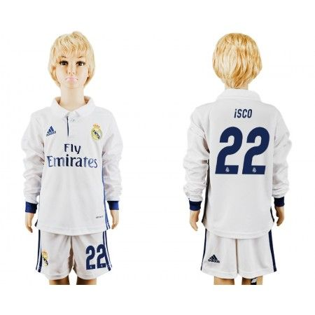 Real Madrid Fotbollskläder Barn 16-17 #Isco 22 Hemmatröja Långärmad,275,98KR,shirtshopservice@gmail.com