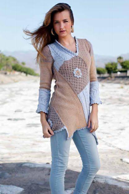 ~GNIST~: Lappestrikk inspirasjon: Cardigans, Angles, 213R13 Medium, Genser 213R13, Crochet Sweaters, Inspiration Knits, Sewing Ideas, Nice Colors, Lappestrikk Inspirasjon