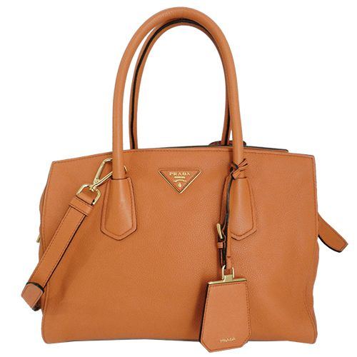 PRADA VITELLO GRAIN LEATHER SATCHEL en piel naranja