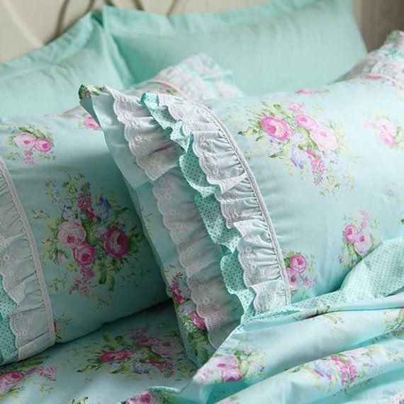 Green Rose Blossom Pillow Sham Bedding Duvet Cover