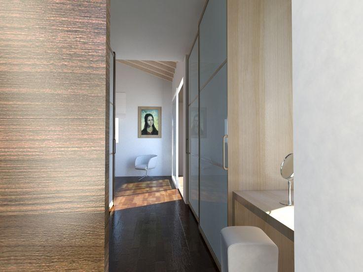 """Ingresso della """"suite"""" matrimoniale con beauty corner, guardaroba e, a sinistra, il bagno - Massimo Rinaldo architetto"""