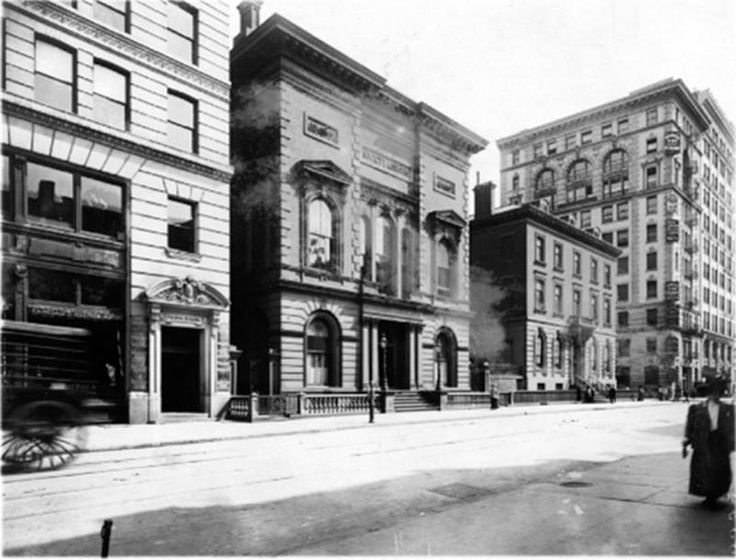 """University Place and 12th St., c. 1906, Brown Brothers, Photographer. Source: NYPL Digital Collections. Caption on back of photo print: University Place, east side, south from but not including 13th St., to and including 12th St. In the centre is shown the """"Society Library"""", founded 1754, and chartered by King George III in 1772, being the oldest public library in the country, organized for public use by means of membership subscriptions. It is not connected with the Municipal Library…"""