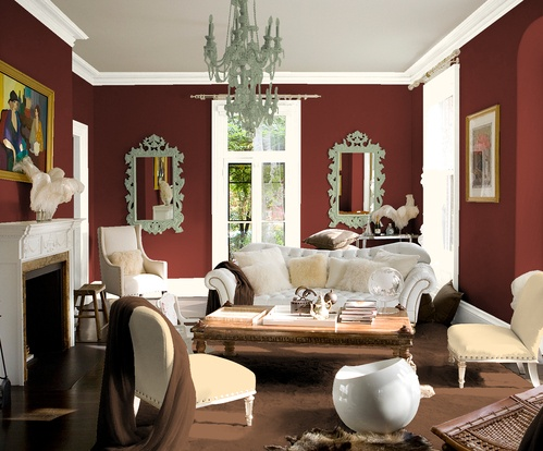 Deep Red White Cream Colors For Living
