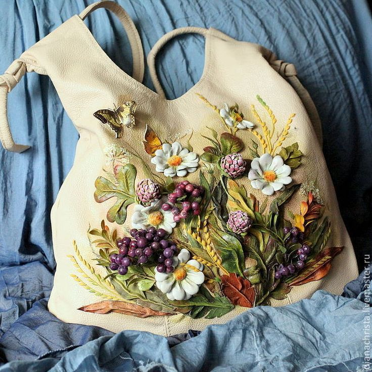 """Купить Сумка из нат. кожи """" Летний ноктюрн - 3"""" - бежевый, цветочный, Кожаная сумка"""