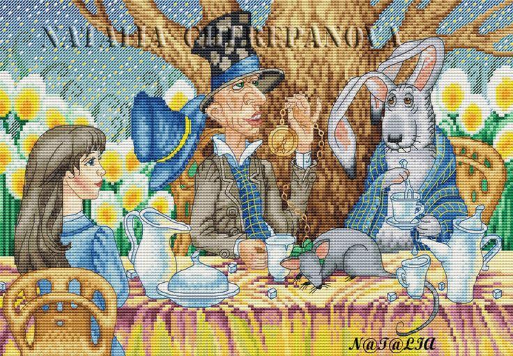 """Gallery.ru / """"Безумное чаепитие"""" по рисунку Аси Беловой - Схемы для Stitch Galaxy. Приложение для Ipad - nata0179"""