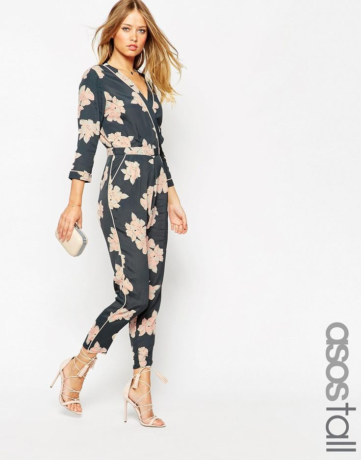 ASOS+TALL+Floral+Printed+Piped+Wrap+Jumpsuit