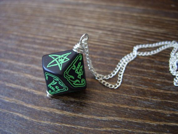 call of Cthulhu necklace D10 dice necklace dungeons by MageStudio