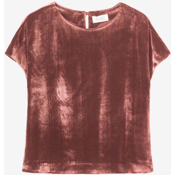 Toast Silk Velvet Tee ($180) ❤ liked on Polyvore featuring tops, t-shirts, blush, red t shirt, velvet t shirt, velvet tees, round neck t shirts and silk t shirt