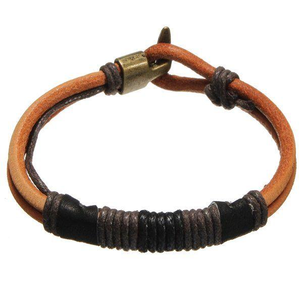 Vintage Men's Leather Rope Tribal Braided Bangle Bracelet at Banggood