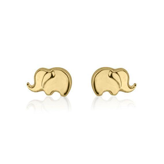 Solid Gold Earring Studs Elephant Earrings 14k Yellow S