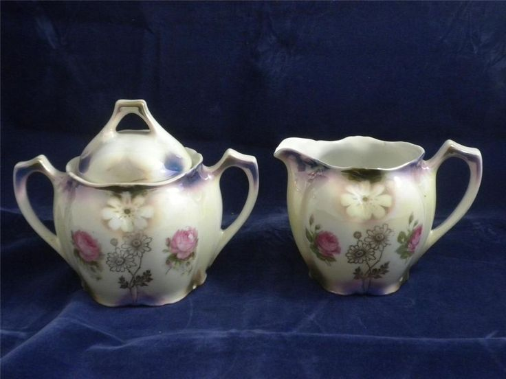 Vintage Bavaria Sugar And Creamer Set Floral Pattern 1900