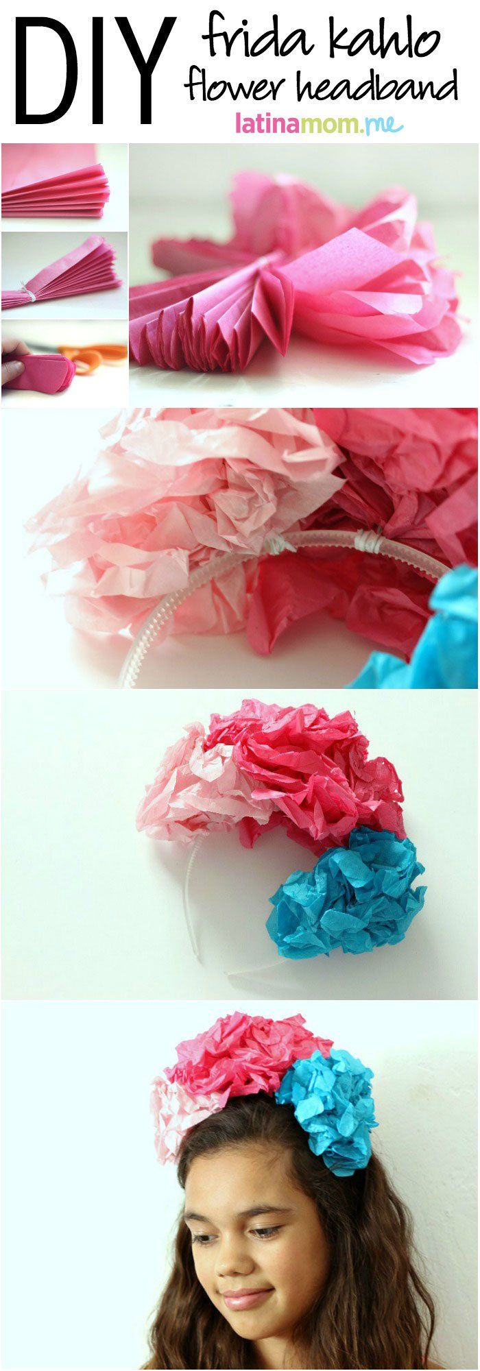 DIY Frida Kahlo-Inspired Flower Crown For Kids - Make this easy craft in about 15 minutes!