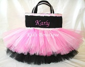 Monogrammed Black with Pink Double Sequins Trim Tutu Bag