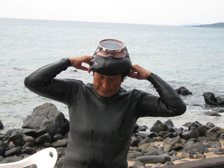 At Jeju Island, 2009. An amazing lady - one of the haenyo, or diving women