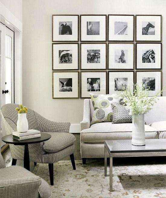 Fotolijsten kun je op verschillende manieren ophangen, van strak op een rij tot in een losse collage. Ideeen en inspiratie om lijsten op te hangen.