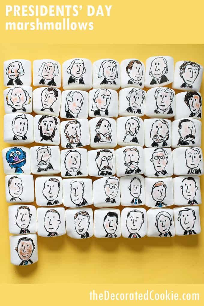 PRESIDENTS DAY MARSHMALLOWS -- Fun with food coloring pens ...