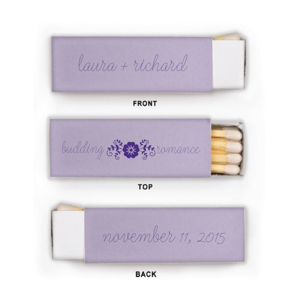 Custom Poptone Lavender Lipstick Match Boxes with Matte Amethyst on ForYourParty.com