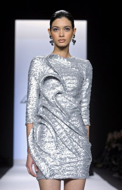 silver runway dress