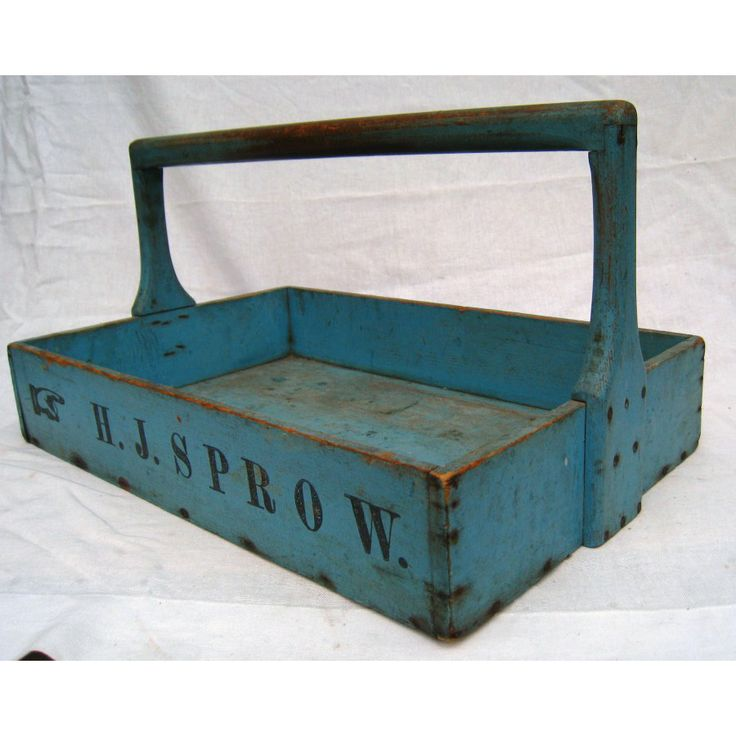 Antiques Dealers Association - Blue painted Ohio seed carrier