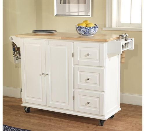 Mobile Portable Kitchen Utility Cart Rolling Island With Wood Top And  Cabinet