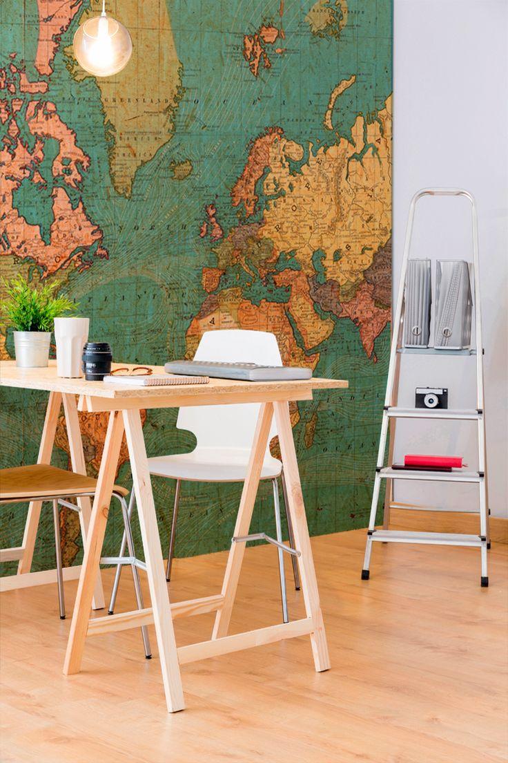 Planning your next adventure? This world map wallpaper is a wonderful display of colour and makes the perfect backdrop to everyday life. Its vintage feel brings character to your home as well as style.