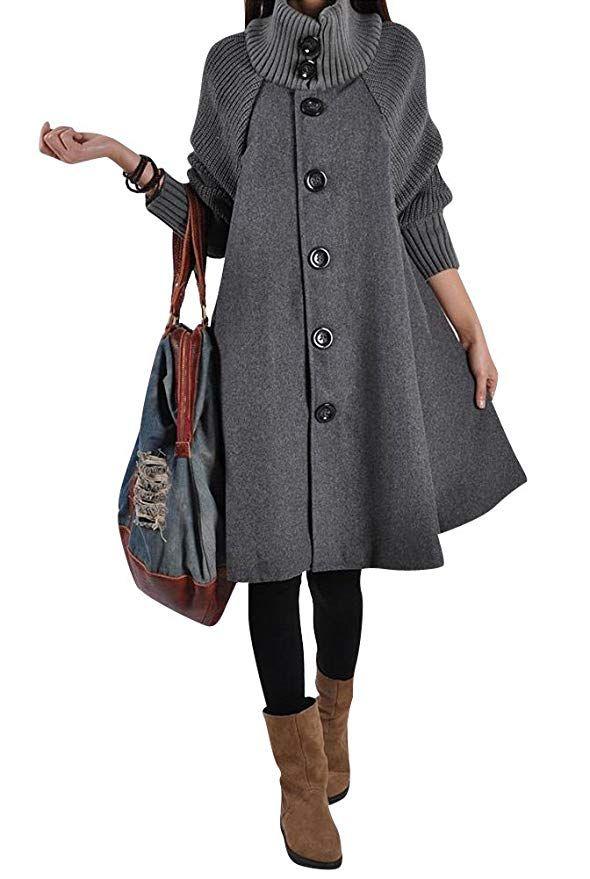 24fc6765697a60 Donna Waterfall Lunga Cappotto di lana blended Invernale Giacca Cappotti A  Maniche Lunghe L Grigio #