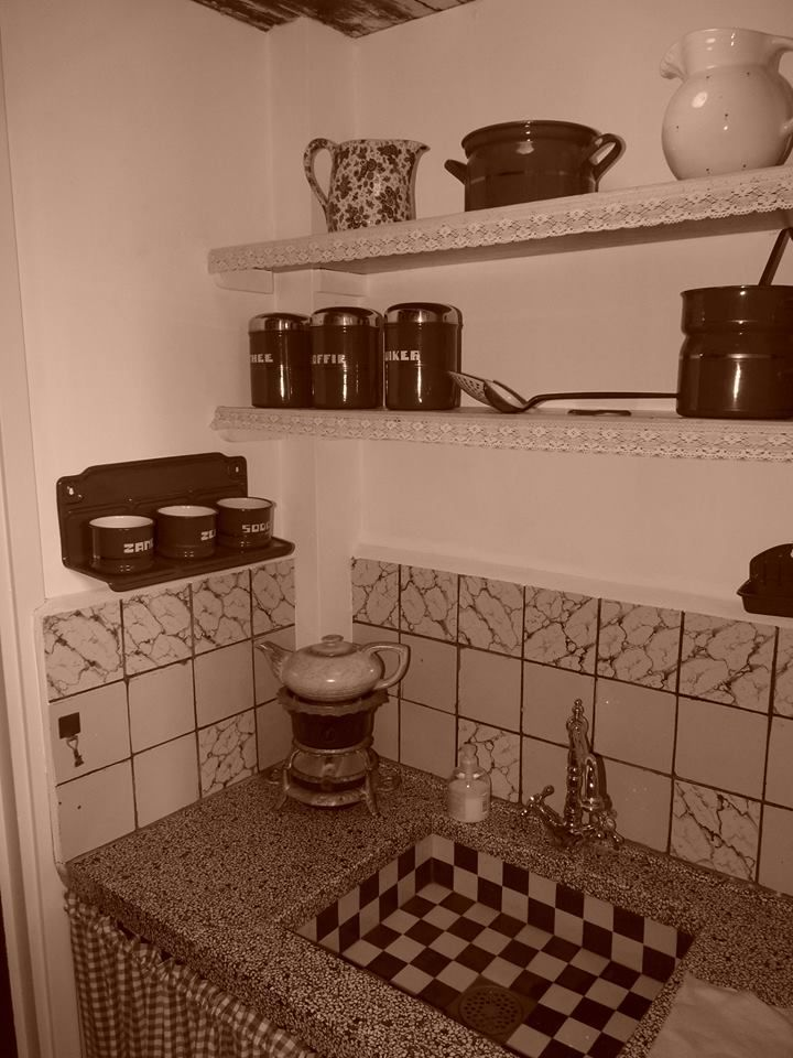 Old fashion kitchen counter and sink...very typically Dutch, especially the tiled sink...