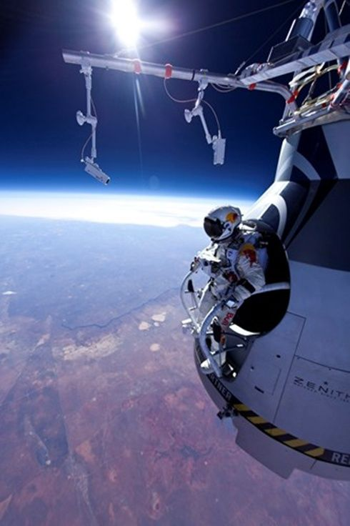 Red Bull Stratos Jump. Felix Baumgartner has broken the record for the highest ever skydive by jumping out of a balloon from the edge of space. He jumped from 128,097ft (24.2 miles; 39km) and fell for four minutes and 19 seconds reaching a speed of 706mph (1,137km/h).