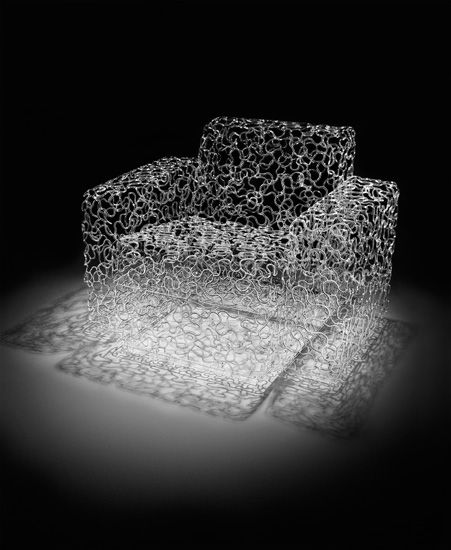 """Brent Kee Young ~ Matrix Series:    """"Untitled Modern Chair""""  ~  Flame worked Pyrex glass ~ 35"""" X 30"""" X 26"""""""