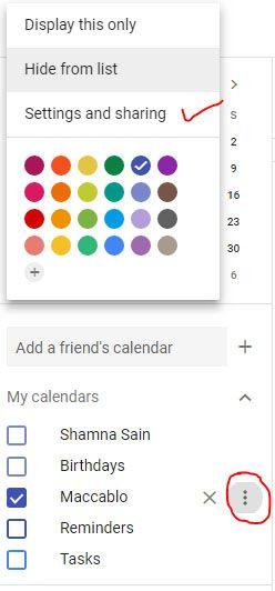 Share Google Calendar named Maccablo   Google Calendar