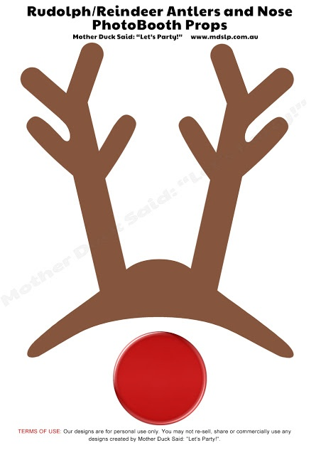 """Reindeer Antlers and Nose Photo Booth Props Printable Mother Duck Said: """"Lets Party!"""": Christmas Photo Booth Props"""