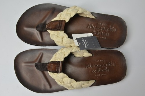 Abercrombie Fitch Mens Treads Leather Flip Flops Sandals Thongs Sz L 11 New $46.99
