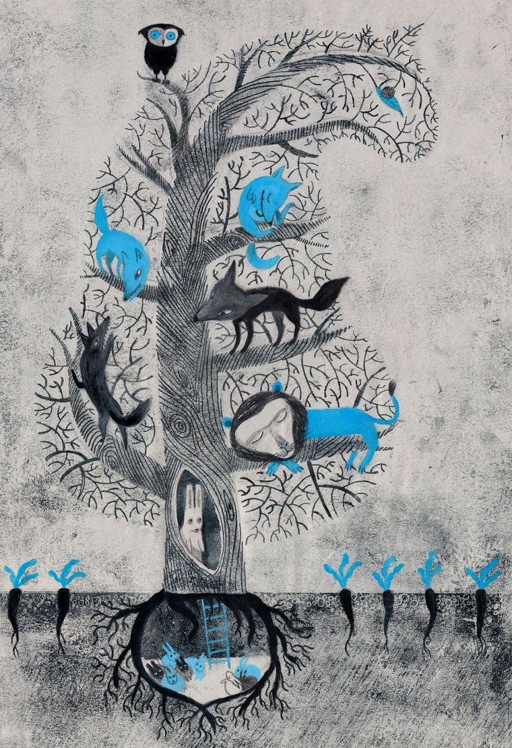 illustration, tree, animal, bird, owl, wolf, fox, coyote, rabbit, carrot, interior, cut