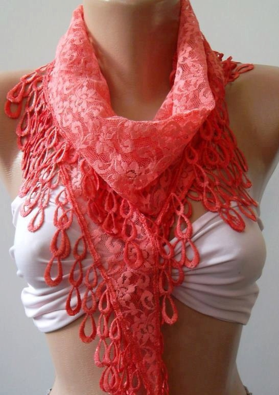 ON SALE   pomegranate flower color - Elegance  Shawl - Scarf with Lacy Edge. $13.50, via Etsy.