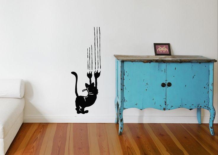 Wandtattoo - MIEZE SPIELT MIT TAPETE Wandtattoo Katzen Sticker - ein Designerstück von UrbanARTBerlin bei DaWanda