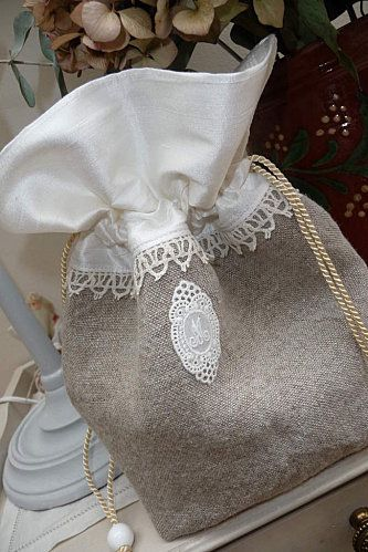 linen bag with lace and cotton