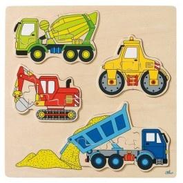 Buntes Einlegepuzzle Baufahrzeuge, Holzspielzeug