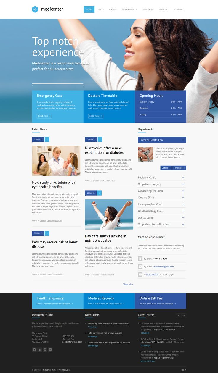 MediCenter - Responsive Medical WordPress Theme  MediCenter is a responsive WordPress Theme suitable for medical and health related projects or businesses. The Theme is maintained in a minimalist and modern style with strong color accents. Theme comes with wide and boxed layout – both fully responsive and optimized for all kind of devices.