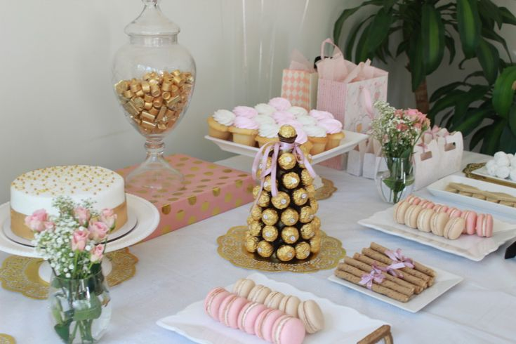 Blush Pink And Gold Baby Shower Ideas Love This Sweets