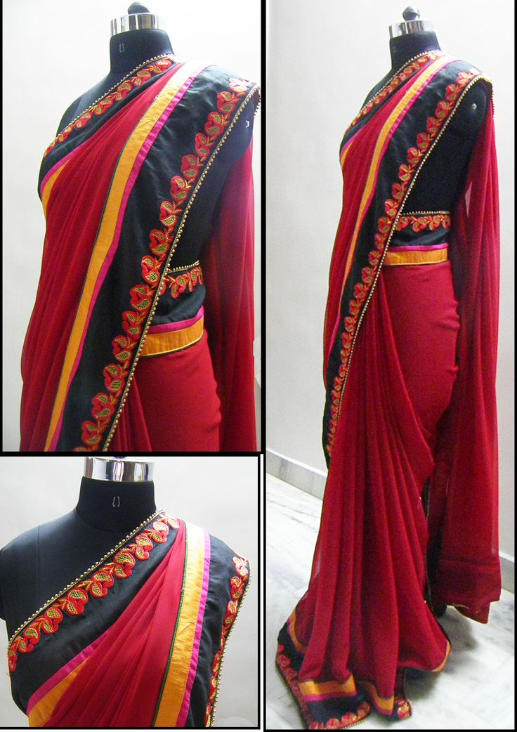 Red georgette fabric embellished with thread work embroidery on black base giving dept to the border with a flat piping of pink and yellow and cornered with gold moti and green piping.  Blouse - Yellow Silk cotton  For booking your saree please Email us with Saree name to sales@aaenadesign.com or call us on +91 9167625956