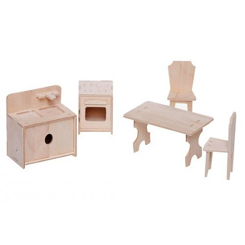 Stylish furniture for a dollhouse. The set consists of: 1 table, 2 chairs, 1 gas stove with an oven and 1 sink. Made by Neo-Spiro.