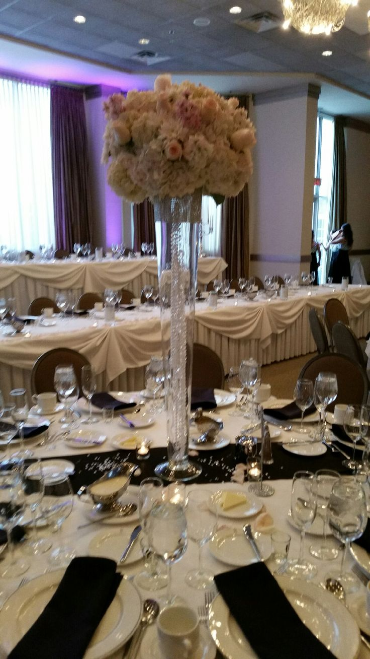 17 best centerpieces images on pinterest wedding bouquets hydrangeas and pink roses on a tall pilsner vase reviewsmspy