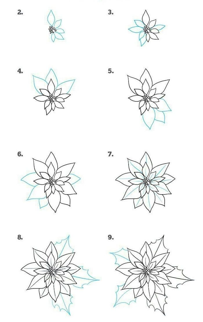 How To Draw A Poinsettia Easy Flowers To Draw Step By Step Diy Tutorial White Background Flower Drawing Simple Flower Drawing Christmas Pictures To Draw